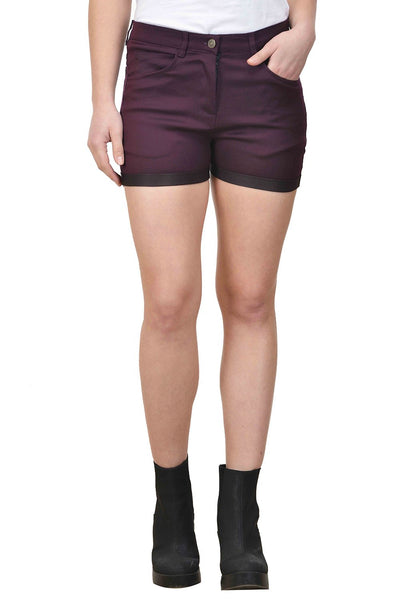 Castle Wine Solid Cotton Lycra Shorts