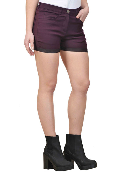 Castle Wine Solid Cotton Spandex Shorts - Castle Lifestyle