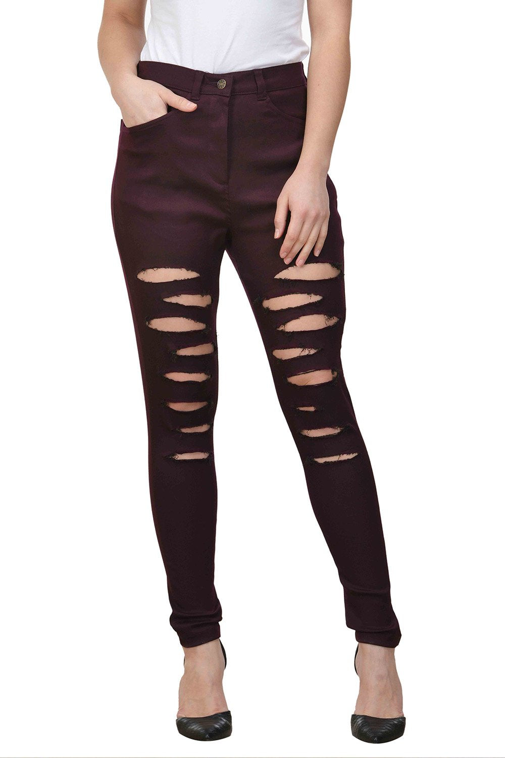 Castle Wine Solid Cotton Lycra Ripped Pants