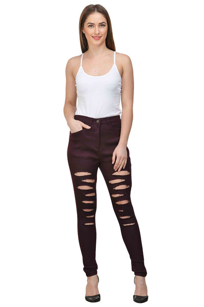 Castle Wine Solid Cotton Spandex Ripped Pants - Castle Lifestyle