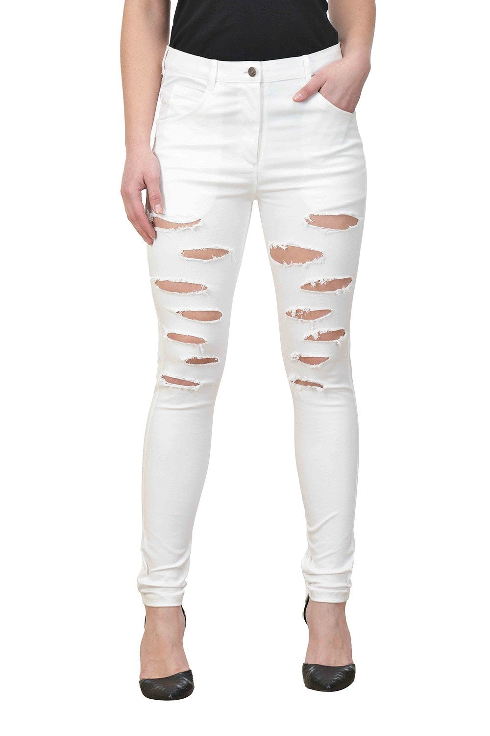 Castle White Solid Cotton Lycra Ripped Pants