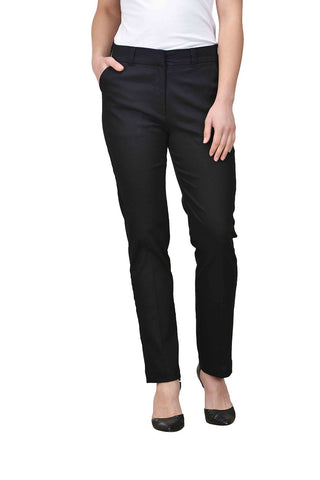 Castle Black Solid Cotton Lycra Trouser