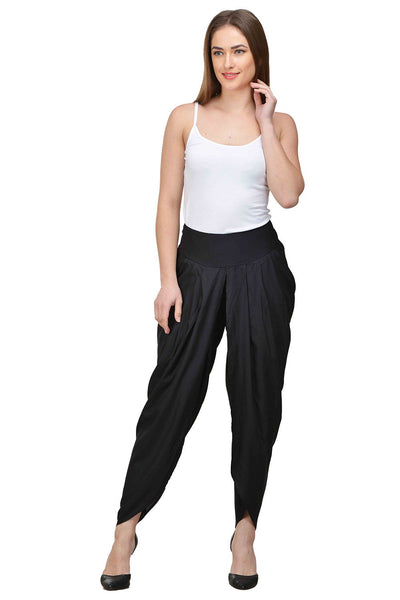 Castle Black Solid Rayon Dhoti Salwar - Castle Lifestyle
