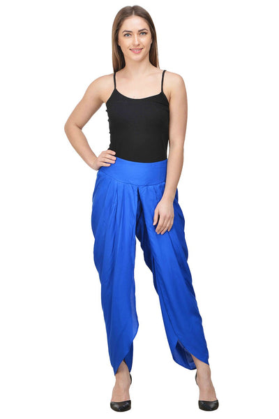 Castle Royal Blue Solid Rayon Dhoti Salwar - Castle Lifestyle