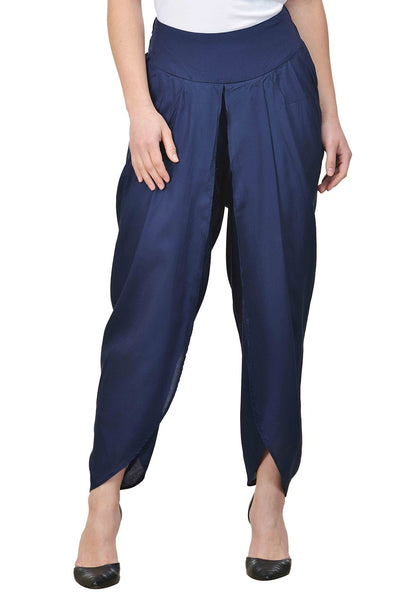 Castle-Navy-Blue-Solid-Rayon-Dhoti-Salwar