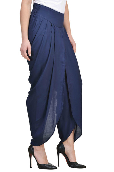 Castle Navy Blue Solid Rayon Dhoti Salwar - Castle Lifestyle
