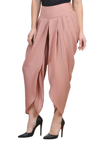Castle Brown Solid Moss Crepe Dhoti Salwar - Castle Lifestyle