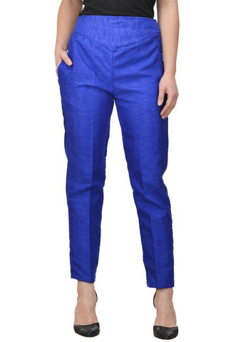 Castle Royal Blue Tussar Silk Pencil Pant