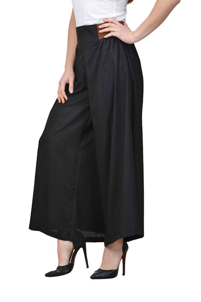 Castle Black Pleated Rayon Palazzo - Castle Lifestyle