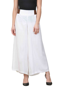Castle Off-White Pleated Rayon Palazzo