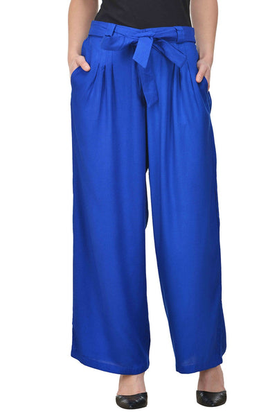 Castle Belted Royal Blue Pleated Rayon Palazzo