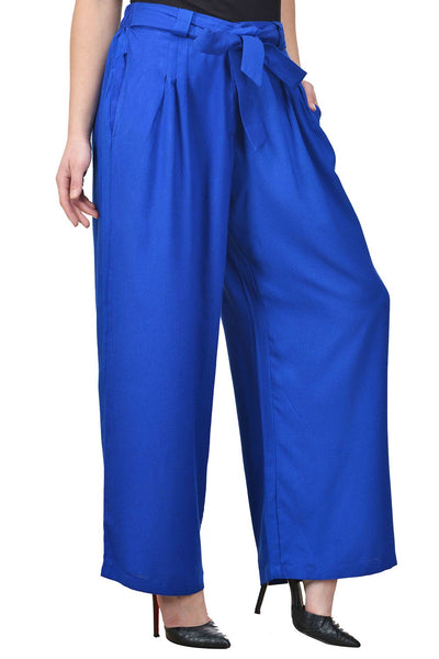 Castle Belted Royal Blue Pleated Rayon Palazzo - Castle Lifestyle
