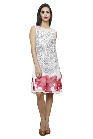 Castle White Printed Chiffon Dress