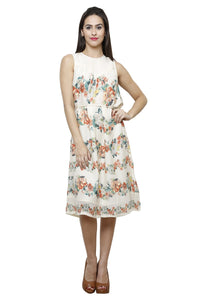Castle Ivory Printed Georgette Dress