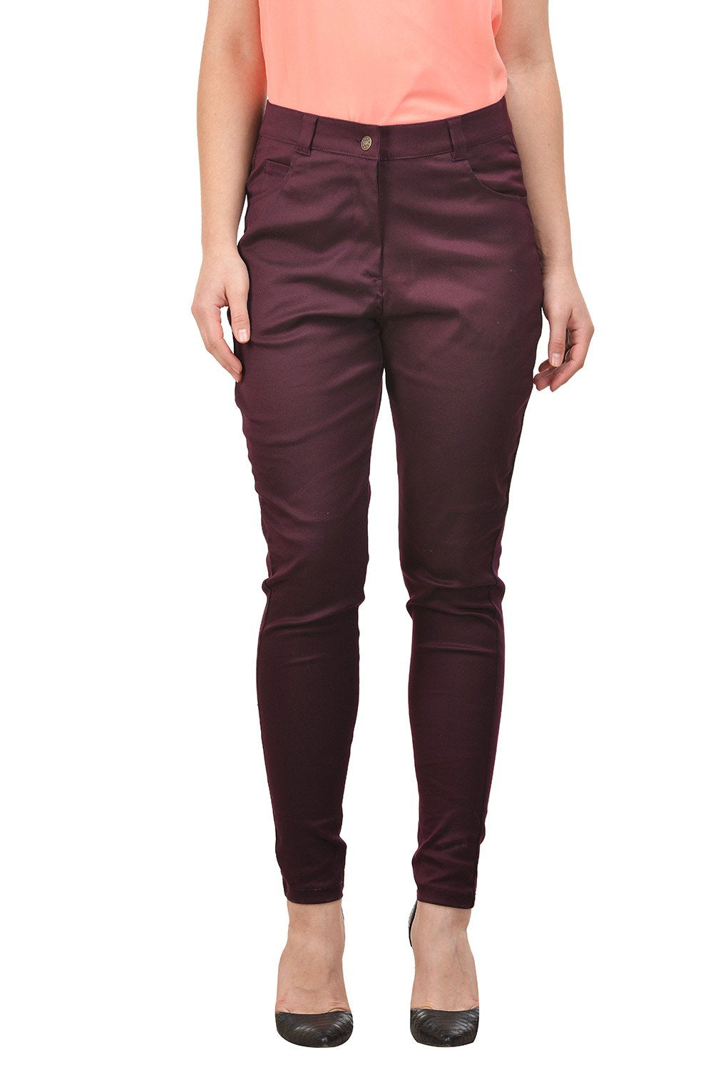 Castle Wine Cotton Lycra Pants