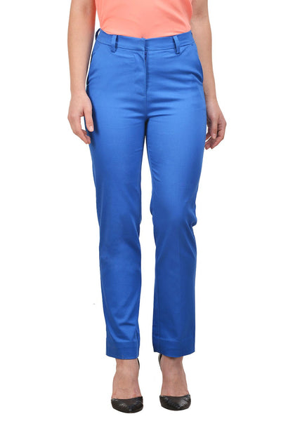 Castle Royal Blue Cotton Lycra Trouser