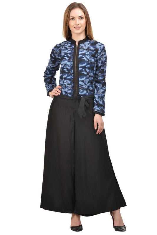 Castle Black Printed Rayon Jumpsuit