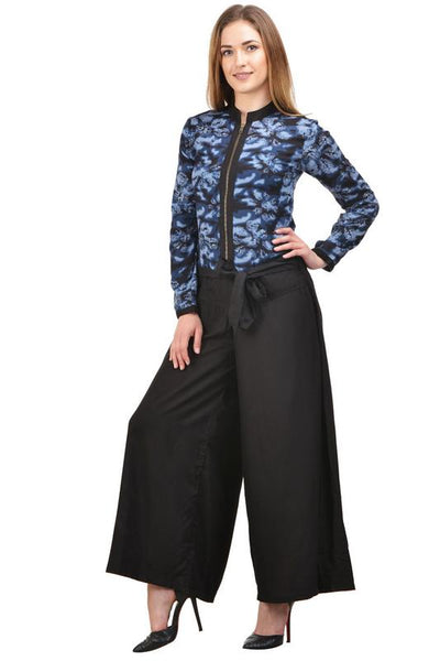 Castle Black Printed Rayon Jumpsuit - Castle Lifestyle