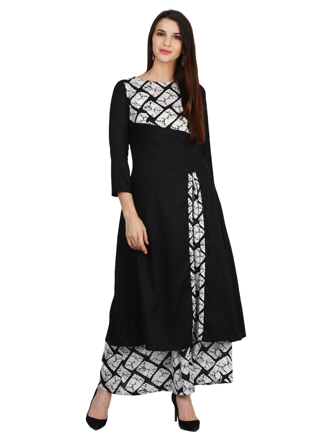 Castle Black Solid Rayon Side Slit Kurta