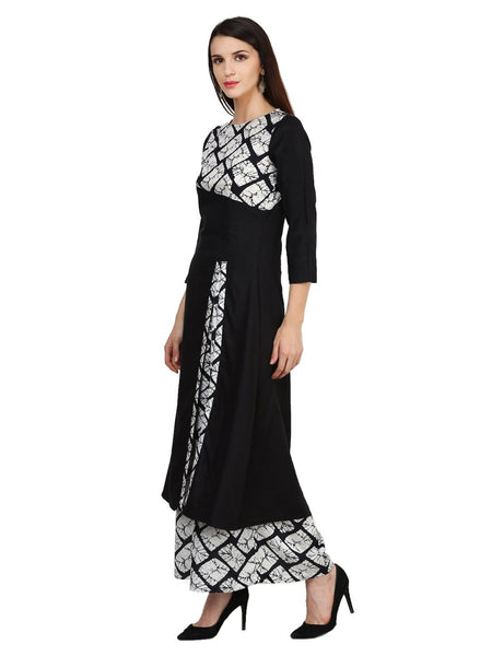 Castle Black Solid Rayon Side Slit Kurta - Castle Lifestyle
