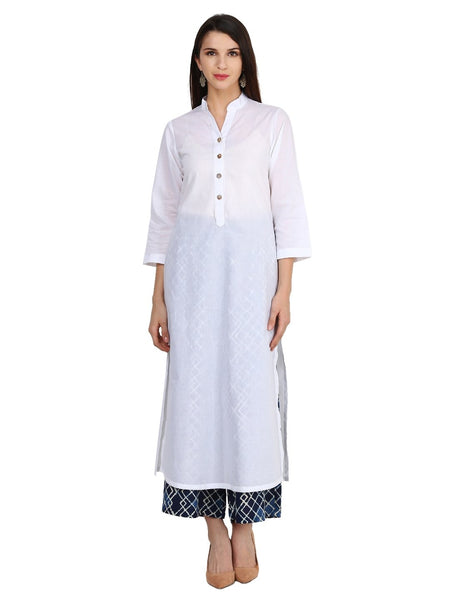 Castle White Solid Cotton Kurta