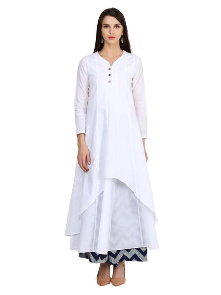 Castle White Cotton Kurta