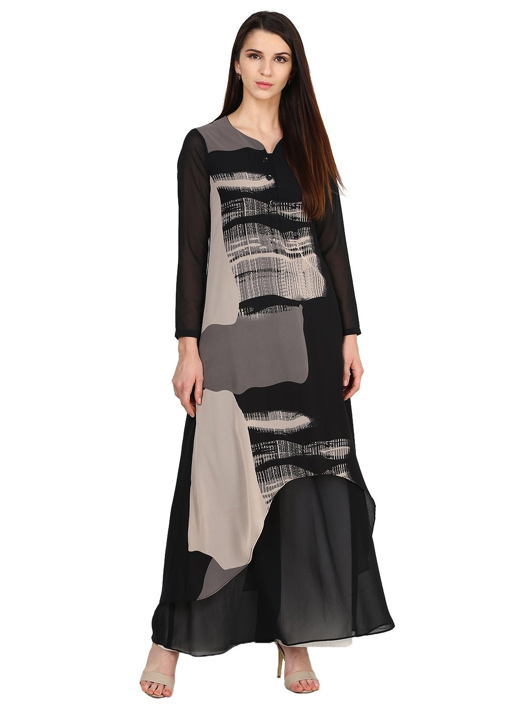 Castle Black Printed Georgette Kurta