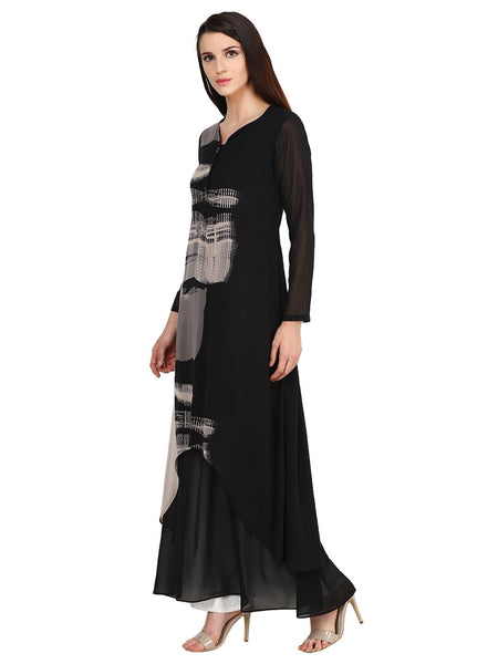 Castle Black Printed Georgette Kurta - Castle Lifestyle