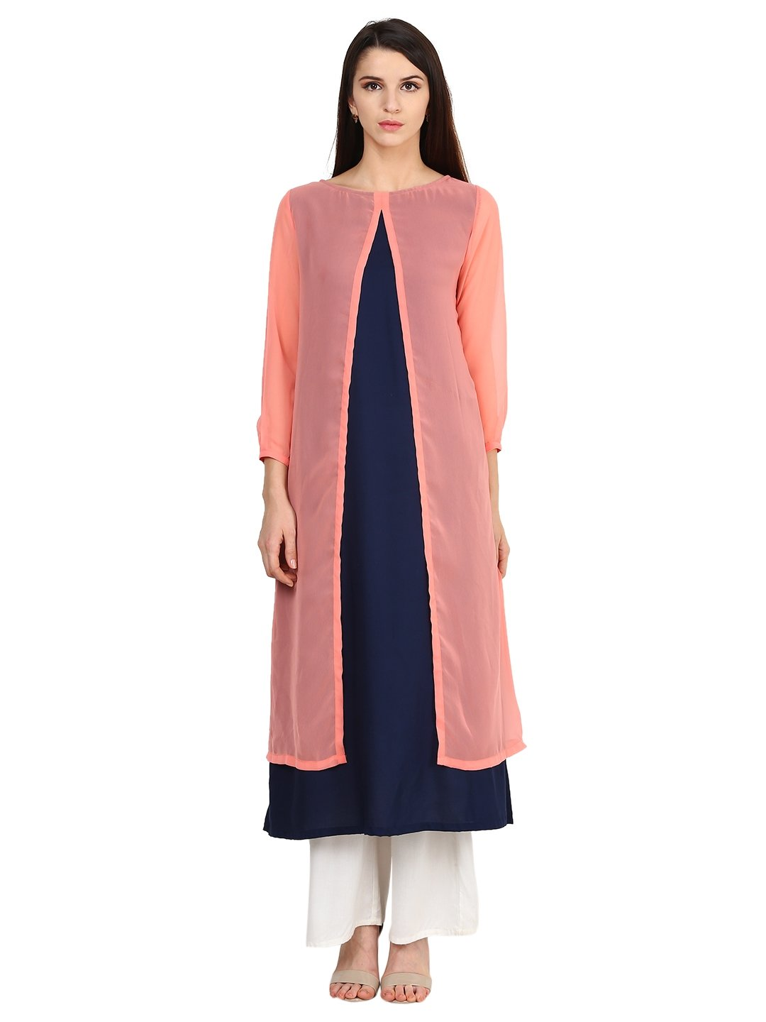 Castle Navy Blue Plain Georgette Kurta