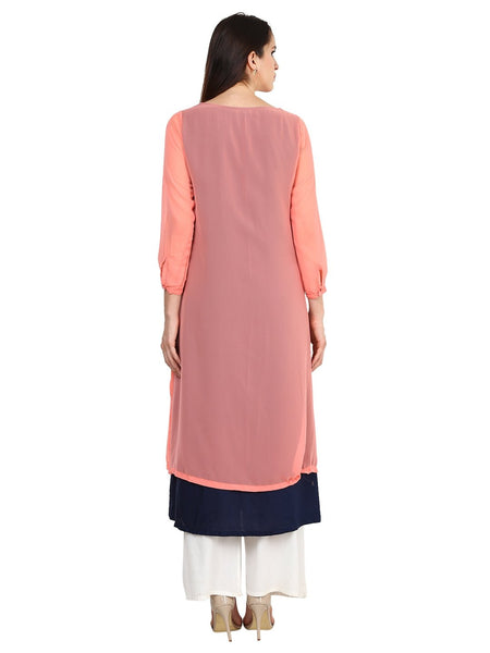 Castle Navy Blue Plain Georgette Kurta - Castle Lifestyle