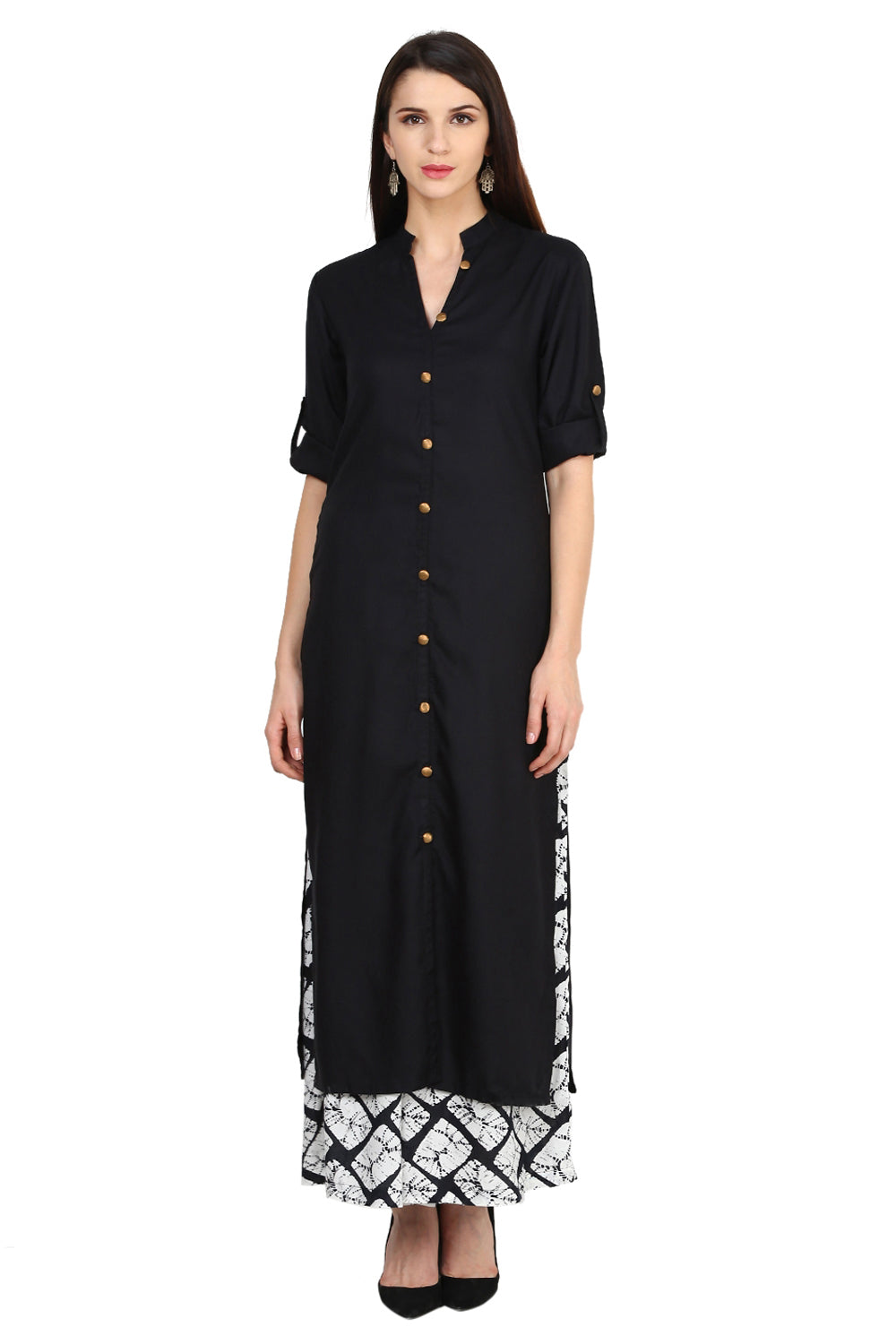 Castle Black Solid Cotton Kurta With Printed Palazzo - Castle Lifestyle
