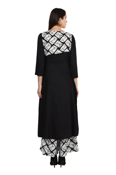 Castle Black Rayon Side Slit Kurta With Printed Palazzo - Castle Lifestyle