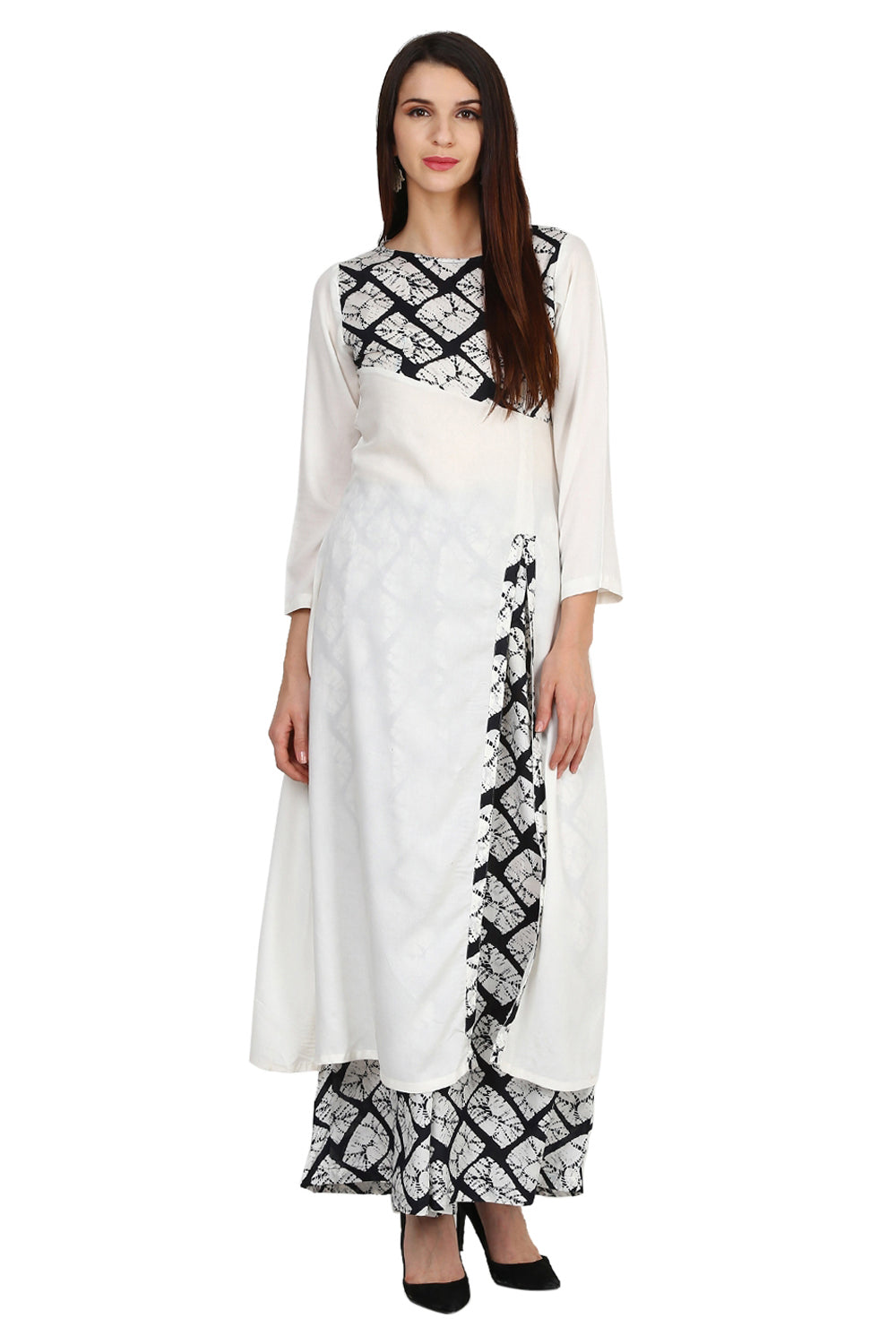 Castle Off-White Rayon Side Slit Kurta With Printed Palazzo - Castle Lifestyle