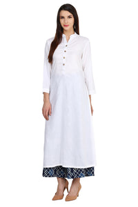 Castle Off-White Solid Rayon Kurta with Printed Palazzo - Castle Lifestyle