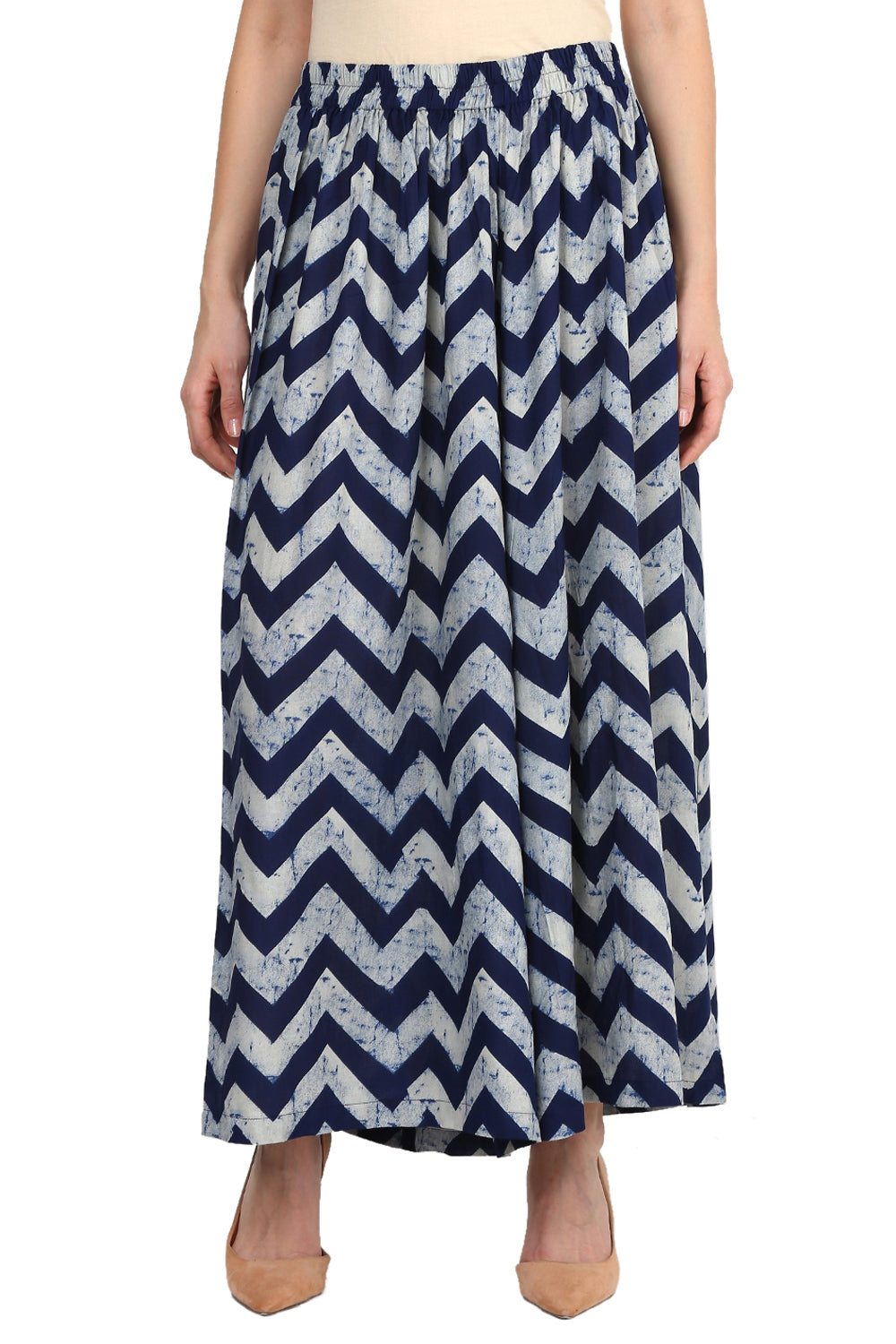 Castle Navy Blue Printed Rayon Palazzo - Castle Lifestyle