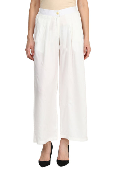 Castle Off-White Pleated Rayon Palazzo - Castle Lifestyle