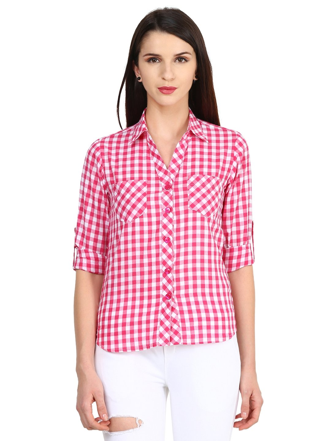 Castle White & Pink Checked Shirt