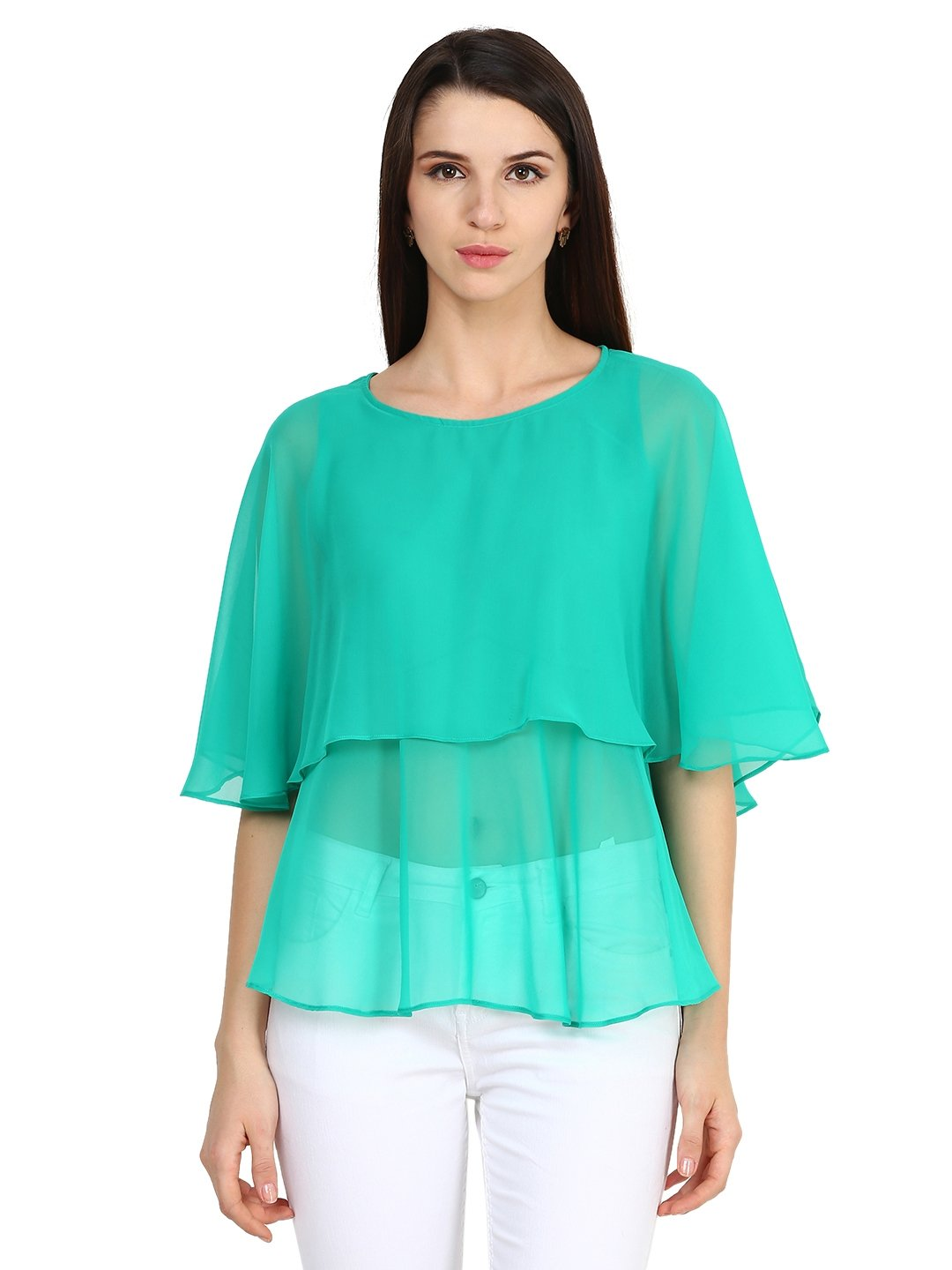 Castle Sea Green Solid Georgette Top