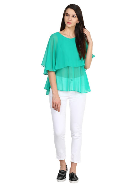Castle Sea Green Solid Georgette Top - Castle Lifestyle