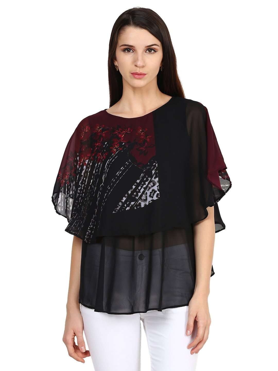 Castle Black Printed Georgette Top