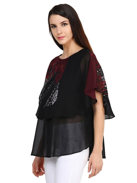 Castle Black Printed Georgette Top - Castle Lifestyle