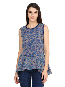 Castle Multicoloured Georgette Peplum Top