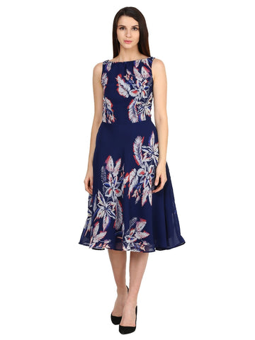 Castle Navy Blue Printed Georgette Dress