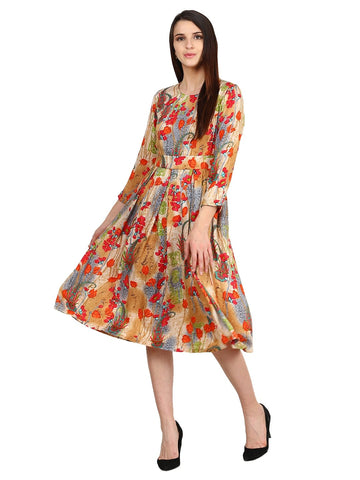 Castle Multicoloured Printed Rayon Dress