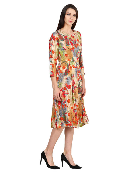 Castle Multicoloured Printed Rayon Dress - Castle Lifestyle