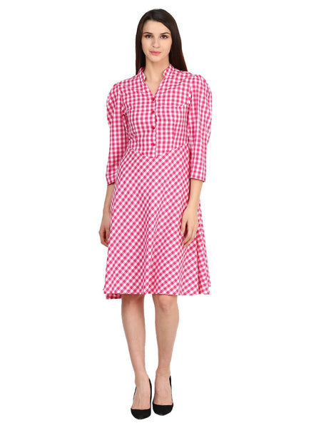 Castle White Cotton Checked Dress