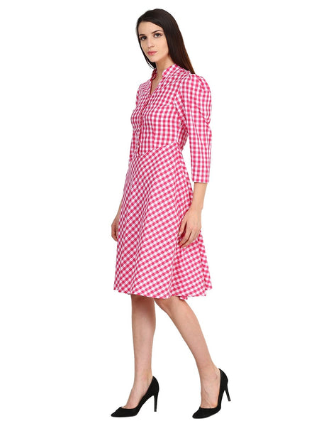 Castle White Cotton Checked Dress - Castle Lifestyle