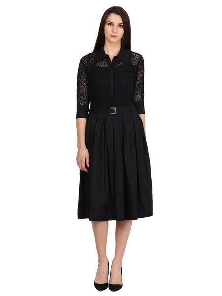 Castle Black Solid Net Dress