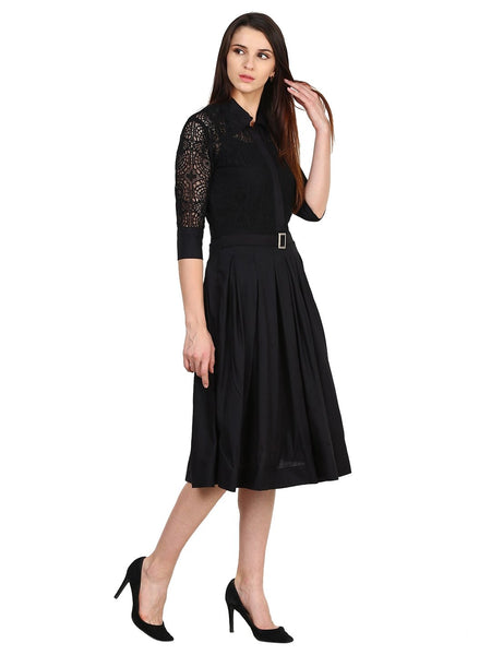 Castle Black Solid Net Dress - Castle Lifestyle