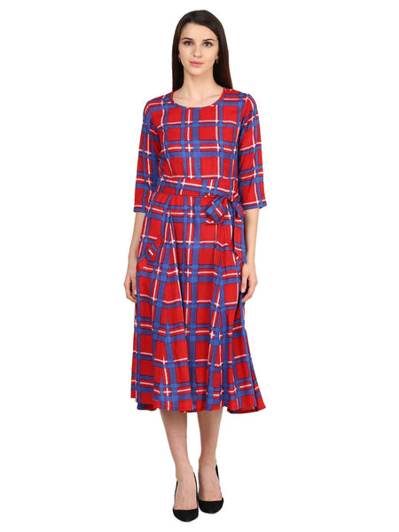 Castle Red Checked Rayon Dress